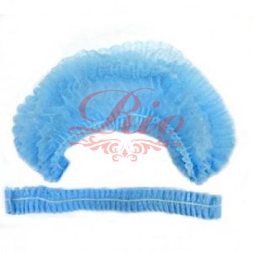 Медицинская одноразовая шапочка шарлотта уп 100 шт (голубая)