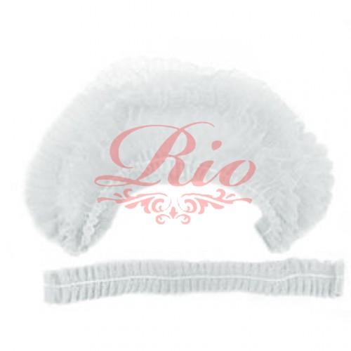 Одноразовая шапочка шарлотта 100 шт уп (белая)